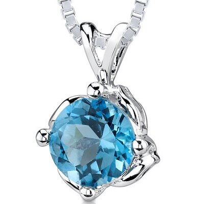 1.50 cts Round Shape Swiss Blue Topaz Pendant in Sterling Silver