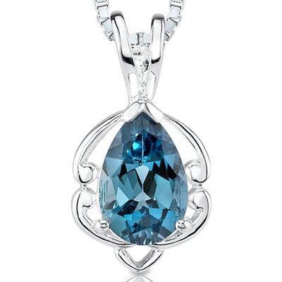 Pear Shape 1.50 cts London Blue Topaz Pendant in Sterling Silver