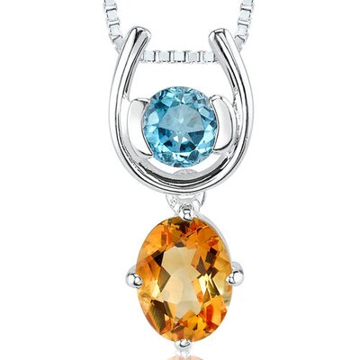 Oravo 1.50 cts Round London Topaz Oval Citrine Pendant in Sterling Silver
