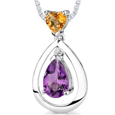 1.50 cts Heart Citrine Pear Amethyst Pendant in Sterling Silver