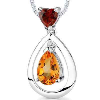 1.50Ct Heart Pear Shape Garnet Citrine Pendant in Sterling Silver