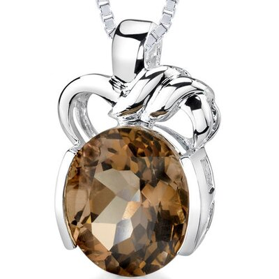 7.50 cts Oval Shape Smoky Quartz Pendant in Sterling Silver
