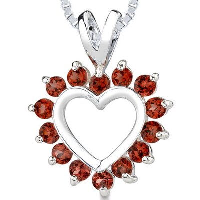 1.50 cts Round Cut Garnet Heart Pendant in Sterling Silver