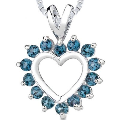 1.25ct Round Cut London Blue Topaz Heart Pendant in Sterling Silver