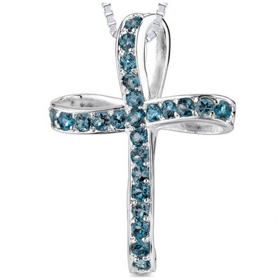 Oravo 1.75CT Round Cut London Blue Topaz Cross Pendant in Sterling Silver