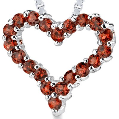 0.75ct Round Cut Garnet Heart Pendant in Sterling Silver