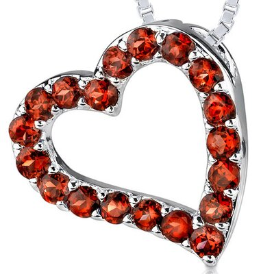 1.75ct Round Cut Garnet Heart Pendant in Sterling Silver
