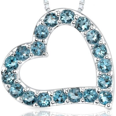 1.50ct Round Cut London Blue Topaz Heart Pendant in Sterling Silver