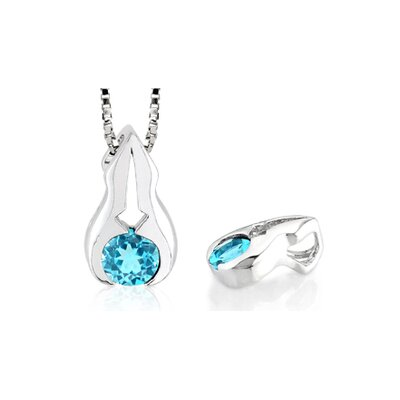 Round Cut Swiss Blue Topaz Pendant in Sterling Silver