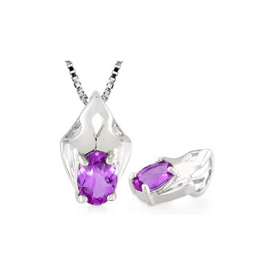 Oval Cut Amethyst Pendant in Sterling Silver