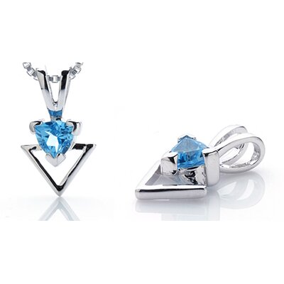 Trillion Cut Swiss Blue Topaz Pendant in Sterling Silver