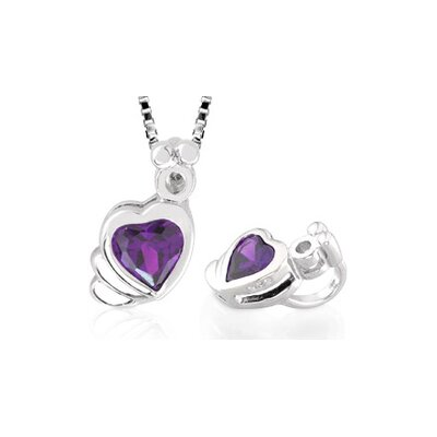 Heart Shaped Amethyst Pendant in Sterling Silver