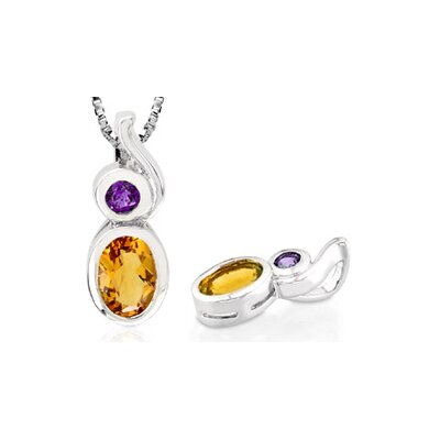 Oval Round Cut Citrine Amethyst Pendant in Sterling Silver