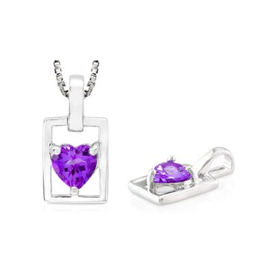 Oravo Heart Shaped Amethyst Pendant in Sterling Silver