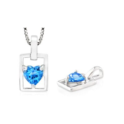 Heart Cut London Blue Topaz Pendant in Sterling Silver