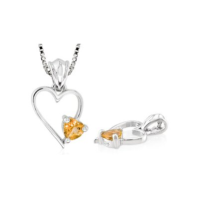 Oravo Heart Shaped Citrine Pendant in Sterling Silver