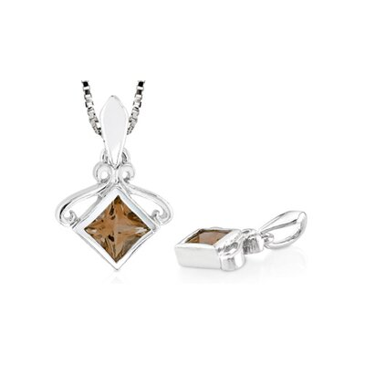 Princess Cut Smoky Quartz Pendant in Sterling Silver