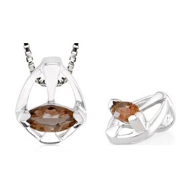 Marquise Cut Smoky Quartz Pendant in Sterling Silver