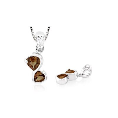 Heart Shaped Genuine Smoky Quartz Pendant in Sterling Silver