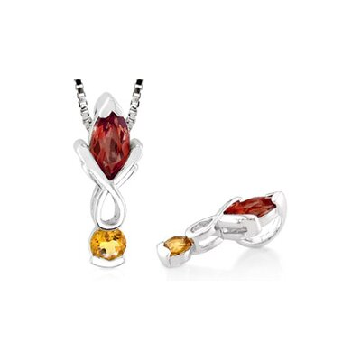 Multicut Garnet Citrine Pendant in Sterling Silver