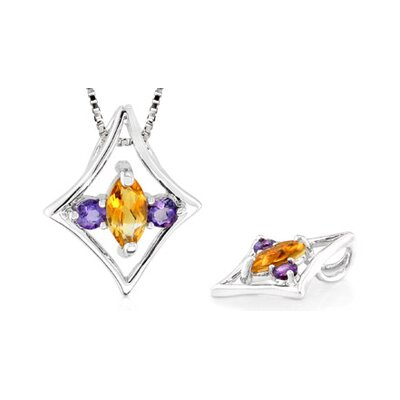 Multicut Citrine Amethyst Three Stone Pendant in Sterling Silver