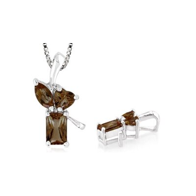 Multicut Smoky Quartz Three Stone Pendant Sterling SIlver