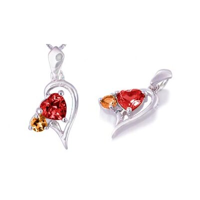 Heart & Round Cut Garnet Citrine Pendant in Sterling Silver