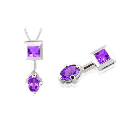 Princess Oval Cut Amethyst Pendant in Sterling Silver