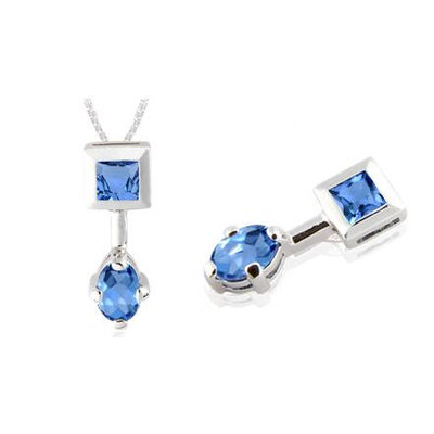 Princess Oval London Blue Topaz Pendant in Sterling Silver