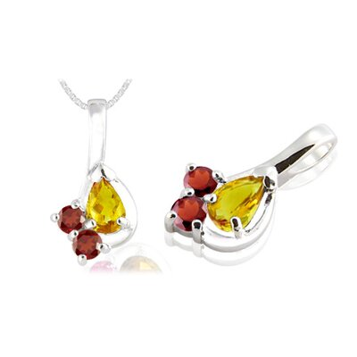 Pear & Round Cut Citrine Garnet Pendant in Sterling Silver
