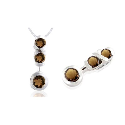 Round Cut Smoky Quartz Three-Stone Pendant in Sterling Silver