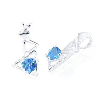 Heart Cut Swiss Blue Topaz Pendant in Sterling Silver