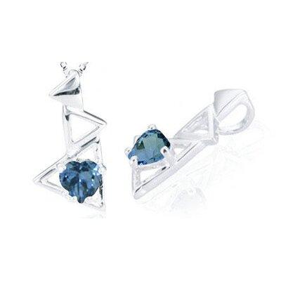 Heart Cut London Blue Topaz Pendant in Sterling Silver