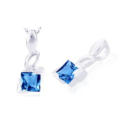 Princess Cut London Blue Topaz Pendant in Sterling Silver