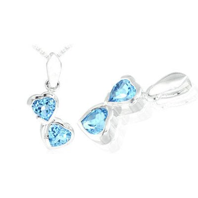 Oravo Heart Cut Swiss Blue Topaz Pendant in Sterling Silver