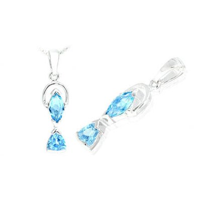 Marquise Trillion Cut Swiss Blue Topaz Pendant in Sterling Silver