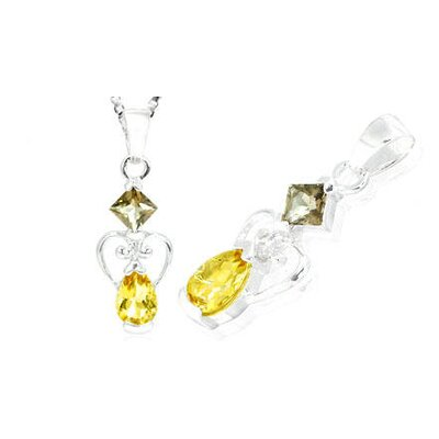 Princess Pear Cut Smoky Quartz Citrine Pendant in Sterling Silver