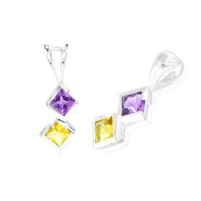 Oravo Princess Cut Amethyst Citrine Pendant in Sterling Silver