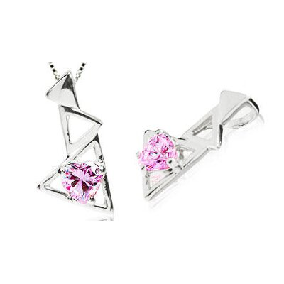 Heart Cut Pink Cz Pendant in Sterling Silver