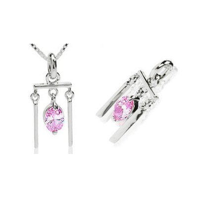 Oval Cut Pink Cz Chime Pendant in Sterling Silver