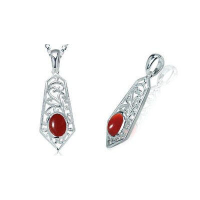 Oval Cut Carnelian Bead Filigree Pendant in Sterling Silver