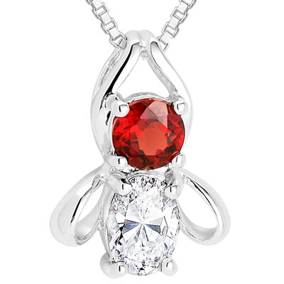 Oravo Round Garnet Oval White CZ Pendant Necklace in Sterling Silver