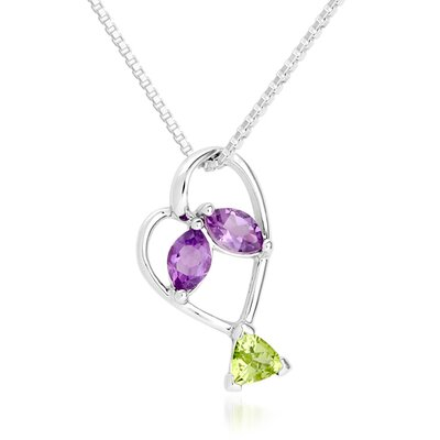 Oravo Multicut Peridot & Amethyst Pendant Necklace in Sterling Silver