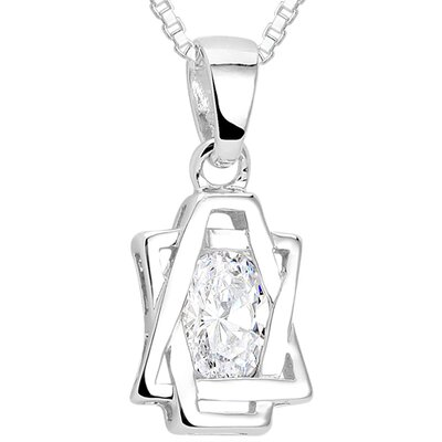 Oval Cut White CZ Pendant Necklace in Sterling Silver