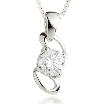 Round Cut White CZ Pendant Necklace in Sterling Silver