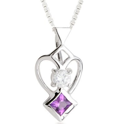 Princess Amethyst & Round White CZ Pendant Necklace in Sterling Silver