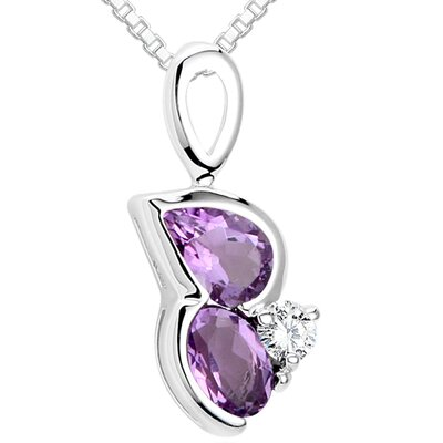 Multicut Amethyst & White CZ Three Stone Pendant Necklace in Sterling Silver