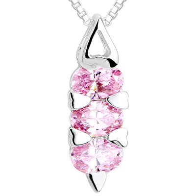 Oval Cut Pink CZ Three Stone Pendant Necklace in Sterling Silver
