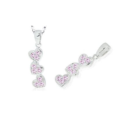 Round Cut Pink CZ Three Hearts Pendant in Sterling Silver