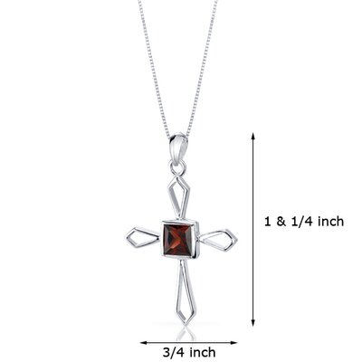 Oravo 1.25 Carats Genuine Princess Cut Garnet Cross Pendant Necklace in Sterling Silver